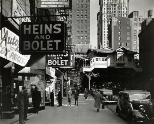 Radio Row, Cortland Street, New York City, April 8, 1936, Berenice Abbott The shops of Radio Row and the surrounding streets were demolished in 1966 to make way for the construction of the World Trade Center. op. cit., p. 59