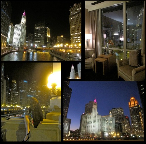 ~ Chicago at Night ~  As I imagine all people do, I fell in love with Chicago while I was there. Every where I looked, a photo was waiting to be taken.    I was stunned at how clean the city was, seriously… do you people not chew gum? As there were no black marks on the ground, and I thought it often looked like someone had literally just swept the ground (which I swear to God, I was sitting on the patio of a cute café just off Michigan Avenue, when someone came by sweeping!).  Their roads were also so nice and wide; I felt like it was a stretched out NYC, but without the hustle, bustle and urgency NYC carries with it.  Simply lovely.