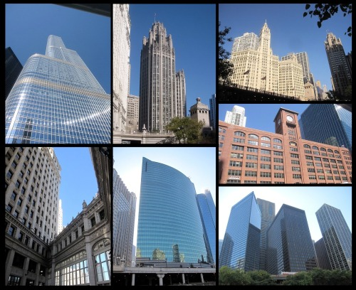 ~ Chicago Architecture ~ I went on a lot of tours: architecture boat tour, another boat tour that went through the river and out to the lake, an open bus tour, a walking tour, went up the WillisSears Tower, and up the John Hancock tower.  (If things don't go as planned, I swear I could move to Chicago and give city tours as I now know so much).  The city is the architect capital of the world for a reason… look at it! The old is mixed with the new to the perfect beat.