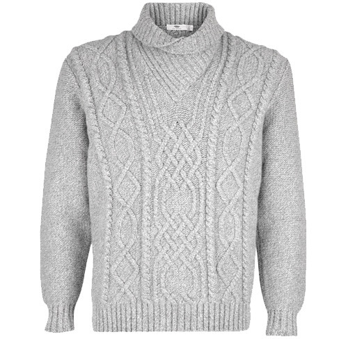 Inis Meain Shawl Collar Aran Sweater
