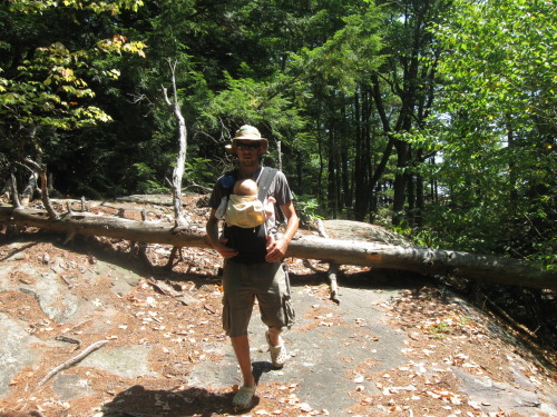 My husband wearing our son Cooper (6 months) in the Ergo on a hike in New Hampshire. (submitted by Emily)
