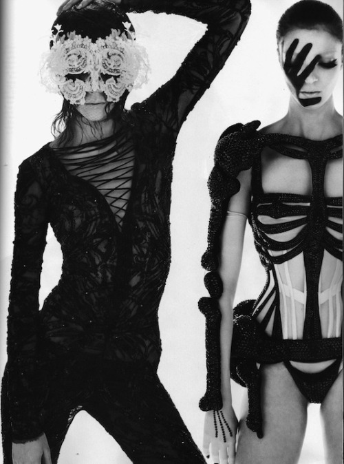 Halloween costumes, anyone? Remember the ensemble on the right from Jean-Paul Gaultier's Fall/Winter 2010 show? (Image via Fashion Indie)
