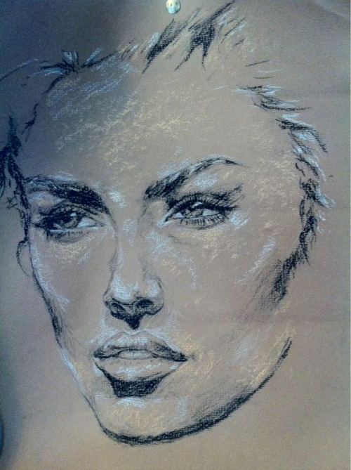 Quick charcoal and chalk pastel sketch