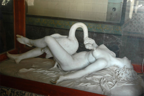 "This Florentine version of Leda and the Swan is now—thanks to the whims of the British Empire—in the Scindia Museum in Gwailor, India.  They describe it as ""Leda having her way with the swan"", although I've always thought of the story the other way around. Leda was one of the most common subjects for Renaissance erotica, and one of the most confusing.  I mean, swans…not really…don't have much of a….you see where I'm going with this?  But she looks pretty happy.  And check out the fabric and hair! Unfortunately, I don't know the sculptor."