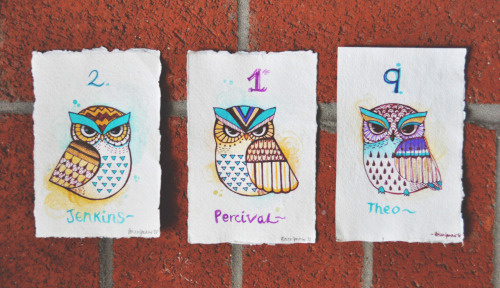 Details on the ink/watercolor owl drawings:Each one is drawn and painted on handmade paper from this awesome watercolor/multimedia sketchbook made in Nepal. I hand rip each one to create the deckled edges. The paper makes the colors on each one pretty vivid, even with only a couple of layers. The dimensions are roughly 4 x 6, and each will fit in a 4 x 6 frame/matte board. Details on this entire edition run can be found here.