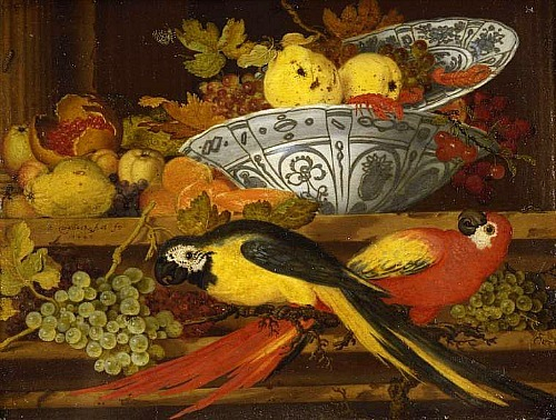 Balthasar van der Ast Still Life with Fruit and Macaws 1622