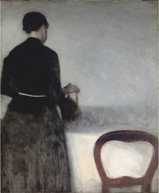 Vilhelm Hammershøi (Danish, 1864-1916) Young Girl Pouring Tea (the Artist's Sister) (En unge pige, som hoelder af en kande), 1884. oil on canvas. Thank you, benjaminhilts & amare-habeo.