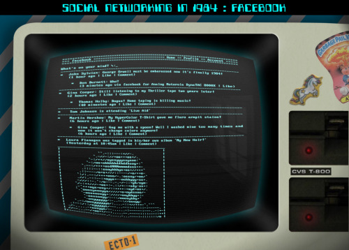 How Facebook would have looked on an old fashioned computer in 1984, using a pixelated DOS-style font and a heavy use of texture, lighting and reflection. The 'Home' screen displays various updates from users which relate to the time period. For example, note 'updated via Analog Motorola' instead of an iPhone or Blackberry.
