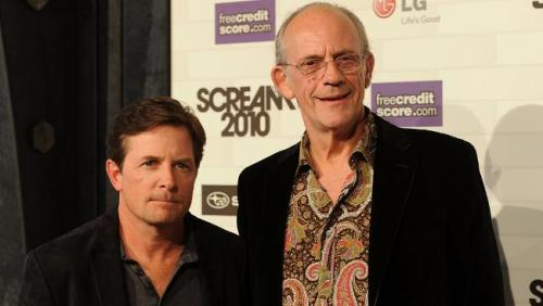 Michael J Fox and Christopher Lloyd at the Scream awards.