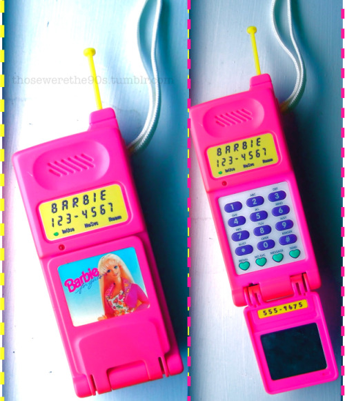 Barbie Super Talking Flip Phone (1995) This was a big deal.  A portable flip phone??  This was even greater than the Zack Morris phone!  I couldn't imagine anything cooler (even though the only person I could talk to was Barbie).