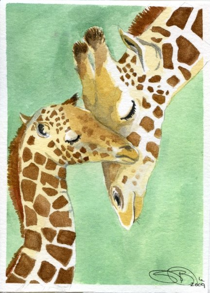 Watercolor Giraffes by Samantha Brooke