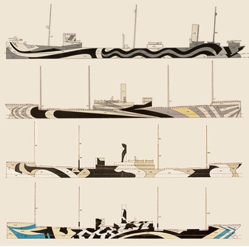 dazzle camouflage (aka razzle dazzle or dazzle painting)a camouflage paint scheme used on ships, extensively during world war i and to a lesser extent in world war ii. credited to artist norman wilkinson, it consisted of a complex pattern of geometric shapes in contrasting colours, interrupting and intersecting each other.this technique did not conceal the ship but made it difficult for the enemy to estimate its type, size, speed and heading. its main purpose was to confuse rather than hide.in modern times, dazzle camouflage is seldom used. in austria, speed traps have been camouflaged with dazzle to confuse drivers on the direction the radar is pointing.+: wikipedia