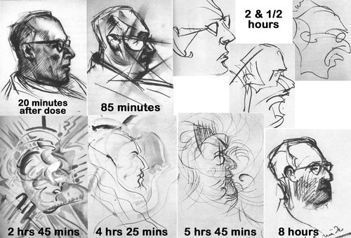 poweredbybodymodsandlife:  These 9 drawings were done by an artist under the influence of LSD as part of a test conducted by the US government in the late 1950's. The artist was given a dose of LSD 25 and free access to an activity box full of crayons and pencils. His subject was the medic. i really like the 2 hours and 45 minutes one best