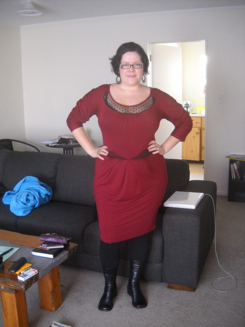 Here it is, the ASOS Curve dress. I like it, but it is a different shape then I'm used to for my body, so I can't say I am unequivocally enamoured with it. Part of the reason I got it was because it is so different from anything I have or can remember having, so it does mark a bit of a risk for me, a bit of a venture from my comfort zone. And I think that's cool. I don't think it looks bad at all, just maybe isn't in the top 5 of my outfits that I feel fantastically gorgeous in, if you know what I mean. However uncertain I am about it aesthetically, I can tell you that it is amazingly comfortable! Definitely love that! dress - ASOS Curve, leggings - Shanton, boots - Overland, earrings - Suzy Shier Please don't mind the awful hair today - it is just one of those days. I should tell you, I am absolutely useless when it comes to hairstyling: I just cannot do it. So if my hair wants to look awful one day, I have no choice but to let it. Some days it cooperates, but every once in a while - like today - it rebels and we both suffer. Damn hair. If anyone knows of a hair stylist in Wellington who will come over every morning to do my hair for me for free, please send them my way!