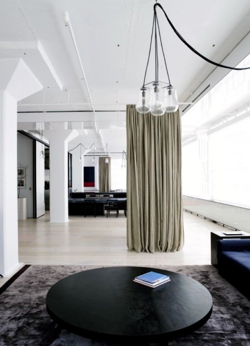 Mmmm… open space and curtains. yellowtrace:  Tribeca Loft by Fearon Hay Architect.