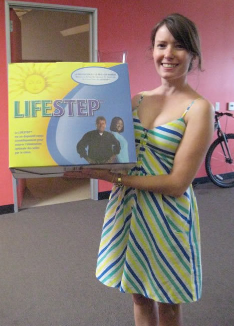 * LifeSTEP™ supports the body in a natural and anatomically correct position. * The modern toilet does not position the body properly for elimination. * The natural position for humans is to squat as our ancestors did. * In a squatting position, the abdominal wall and the bowels are fully supported for more complete elimination.  Hey, it's my old roommate Becca! Can you tell she lives in Los Angeles now?