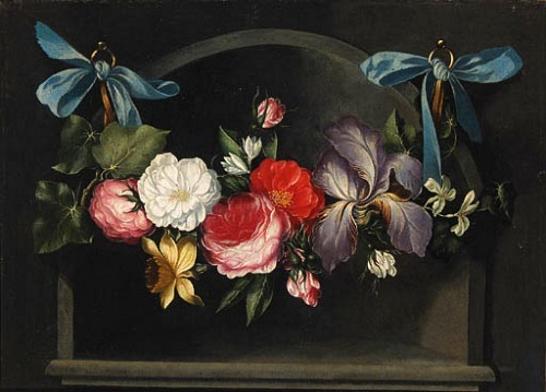 Follower of Daniel Seghers A Garland of Flowers Hanging Before a Niche  18th century