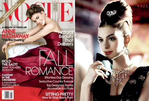 "Anne Hathaway Red Hot in Vogue The devil wears… de la Renta?!? Proving that starring in a movie mocking Anna Wintour doesn't necessarily mean cover-girl suicide, Anne Hathaway has landed on the November issue of Vogue in a breathtaking blood-red Oscar de la Renta gown. Full story on StyleList after the jump. [Hathaway in red Oscar de la Renta on Vogue's November cover (left), and  wearing ""the"" Miu Miu dress in black lace (right). Photos courtesy of  Mario Testino for Vogue]"