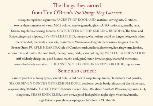 fwriction:  The things they carried, from Tim O'Brien's The Things They Carried. An amazing collection, one that continually teaches me how to be a better writer.