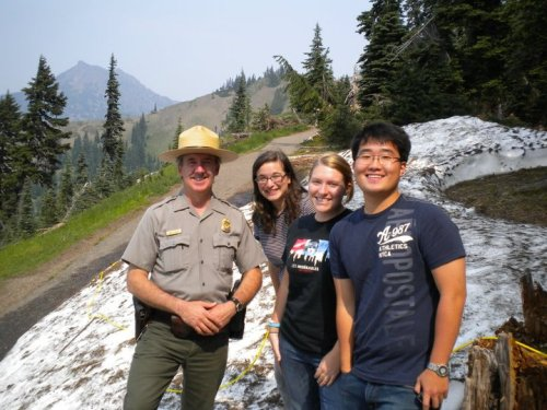 Park ranger, myself, Erin and Jung AKA the interns from Kalaloch at Hurricane Ridge. In August. Snow. I am overwhelmed.