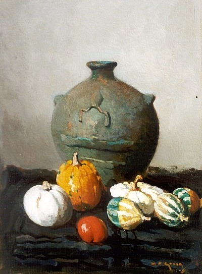 Pieter Groen Still Life with Gourds 20th century