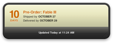 Fable 3 Pre-ordered! Fable 3 is out Oct 26. Amazon is great at under promising ship times and getting games to you on launch date. I enjoyed Fable 1 but really became a hug fan of the series with Fable 2. I bought-up all the property in Fable 2 and finished just about every quest.