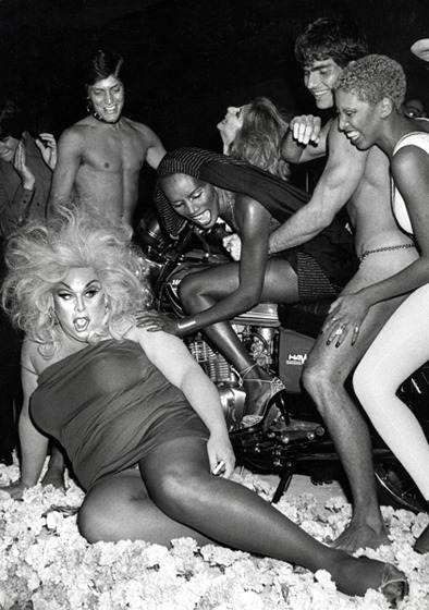 Divine and friends celebrating Grace Jones birthday in May 1978.