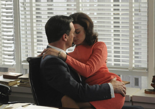 jimmypage:  Jon Hamm and Jessica Paré in a scene for Mad Men.