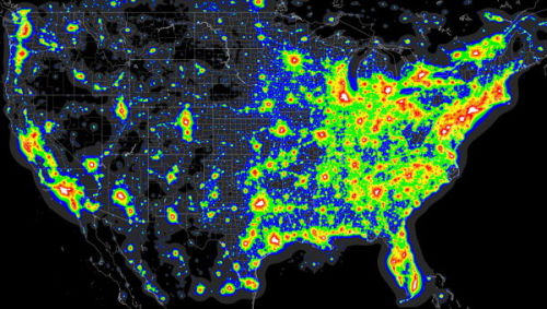 The Map Room: Darker Than You Think the original Light Pollution Atlas was systematically biased by the fact that snow was on the ground when the underlying satellite measurements were taken. Lorenz recalculated the light pollution for the U.S. and southern Canada based on snow-free satellite observations, and the whole northern part of the area came out roughly one full zone darker. That means that the original atlas overestimate the skyglow in this area by a factor of three. Even so, the Bay Area sticks out as a red spot. At least there are some good dark skies within a (relatively) easy drive. (via aemkai's ffffound)