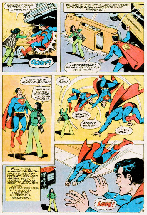adventuresofcomicbookgirl:  SO LOIS COMES UP WITH A PLAN TO SAVE SUPERMAN. It is a fabulous plan that involves her being completely fierce and tossing Supes around like a ragdoll. Check that chokehold! HAHAHA she called him musclemouth.