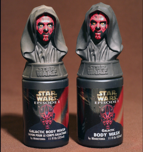 Darth Maul Galactic Body Wash by Minnetonka, 1999.  Canadian version (bilingual French/English) on left.