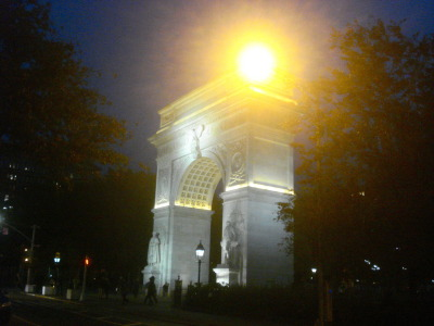 The arch in Washington Square Park, last night