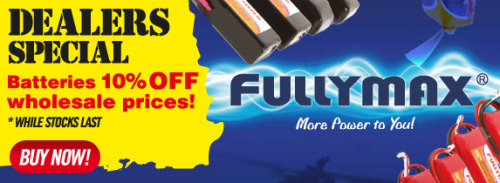 All Fullmax Batteries are 10% for a limited time only!  Hurry in, whilst supplies last.