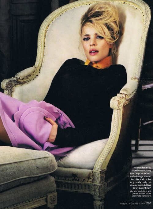 (suicideblonde) Rachel McAdams photographed for InStyle November 2010 -I lover her. She looks amazing with the blonde hair and the Miu Miu dress.