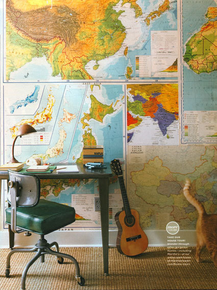 Vintage maps as wall covering. via threepotatofourshop.com