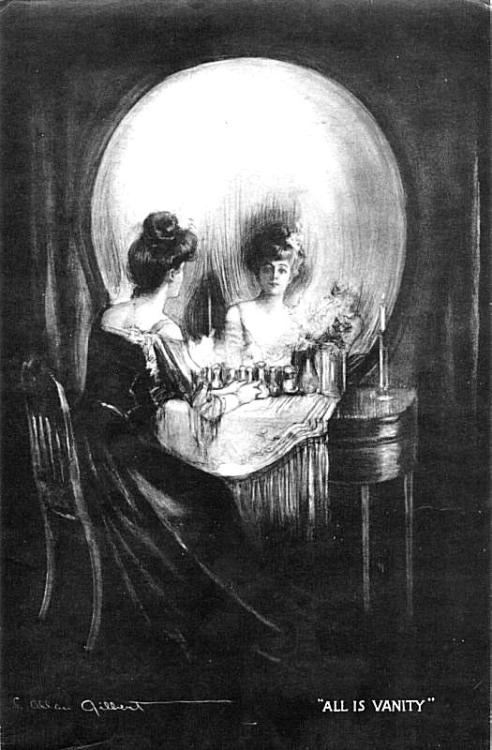 """All is Vanity"" by C. Allan Gilbert. Life, death, and meaning of existence are intertwined. (Woman gazing into boudoir mirror forms shape of skull.) 1892)"