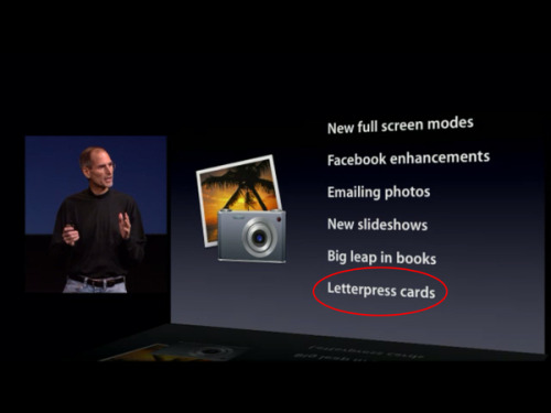 "redesignrelated:  The new iPhoto in iLife '11 apparently adds among a few things including letterpress card printing. karenh:  ""Letterpress printing has officially gone mainstream…""(via @designrelated)"