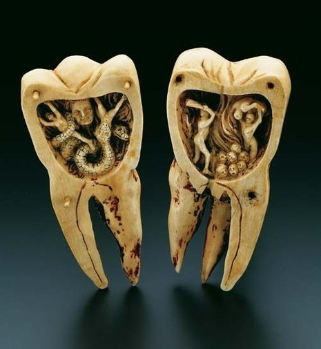 "teaology:  The Tooth Worm as Hell's Demon"", southern France, 18th Century; This artistically designed ivory carving is contained in a molar, 10.5 cm in height, which can be separated into two halves of equal size. It opens out into two scenes depicting the infernal torments of toothache as a battle with the ""tooth worm"". The legend of the ""tooth worm"" as the cause of toothache originated in Mesopotamia around 1800 B.C. A legend, in much the same sense as that of the Creation, concerning the origin of the tooth worm is to be found in the inscriptions on ancient tablets from 1800 B.C., and from the New Assyrian and Neo-Babylonian periods of 650 and 550 B.C."