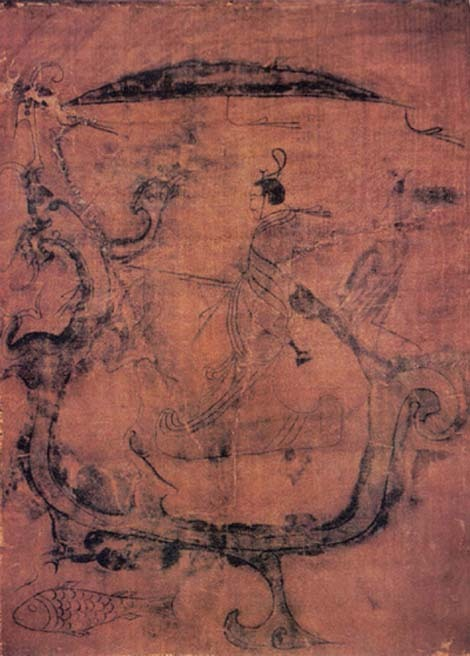 Silk painting featuring a man riding a dragon, dated to 6th century BCE