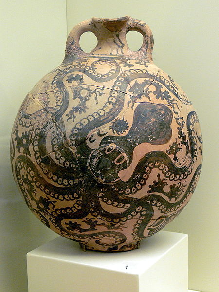Archaeological Museum in Herakleion. Minoan clay bottle showing an Octopus ( 1500 B.C.E.)