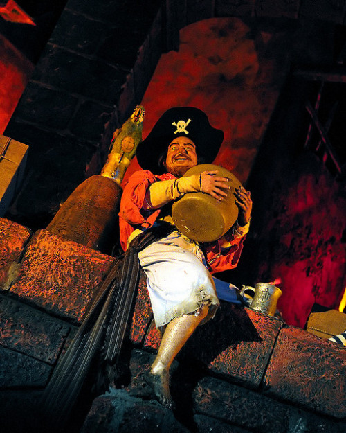 Did you know that this pirate, in The Pirates of the Caribbean ride in Disney World, has a special secret? Being the only pirate the boat gets close enough to see in detail, the Imagineers used real human hair on his legs! The boat actually goes right underneath him as he sits on the bridge during the city pillaging scene.