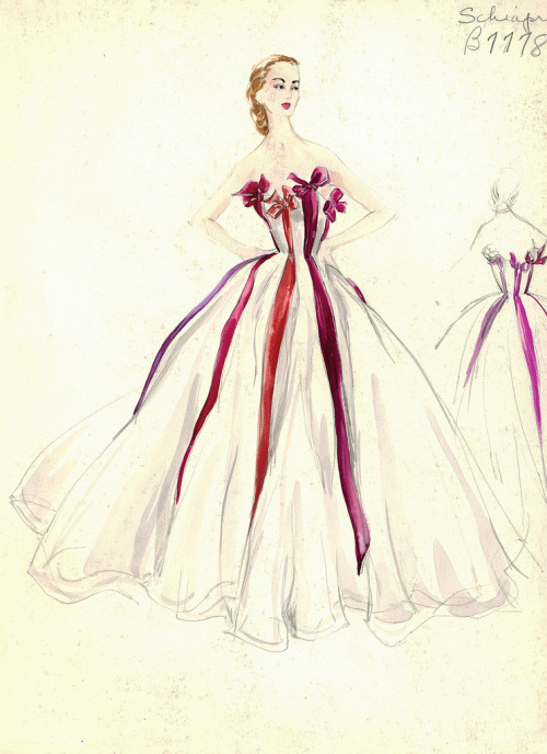 Schiaparelli Gown Strapless white evening gown with red, purple and red-orange ribbon trim. Includes back view in pencil.