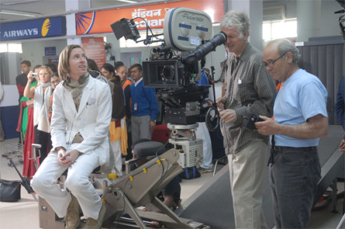Director Wes Anderson, on the set of The Darjeeling Limited (2007)