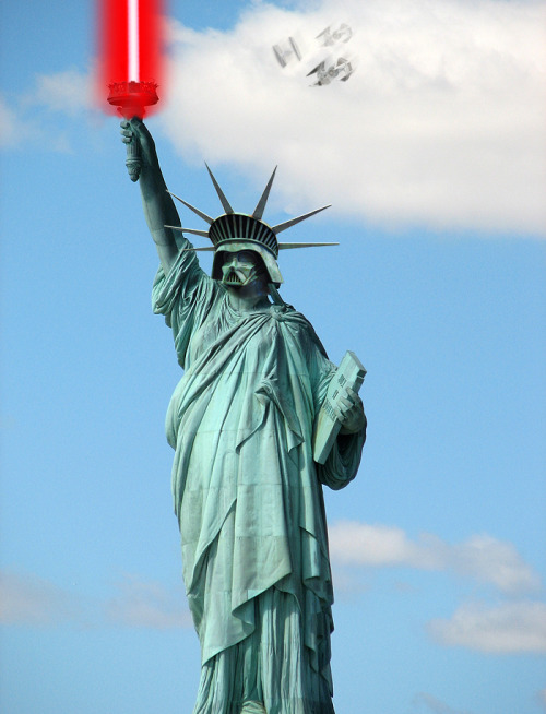 tasteless-and-unoriginal:  Statue of Darth Liberty  The sabre was hard (how much glow etc), but the fun part was adding the TIE fighters.