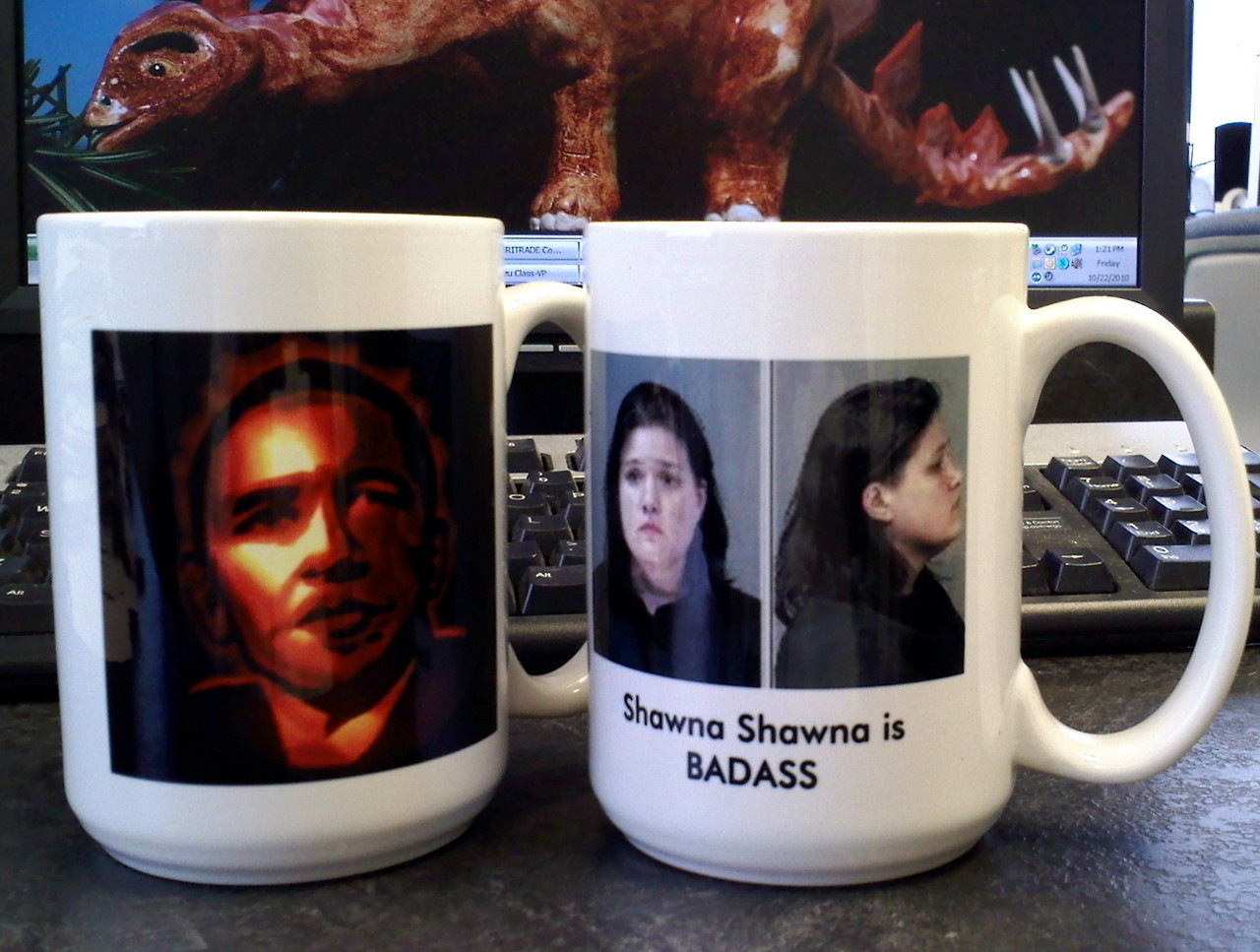 smartasshat:  Barack O'Lantern and Shawna Shawna mugs.  Badass caffeination, yo. (NOT taken with that goddamn fucking Instagram.)  A sentiment that bears repeating, in light of the good news.
