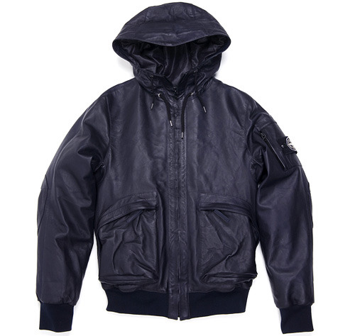 Stone Island Leather Bomber Down Jacket