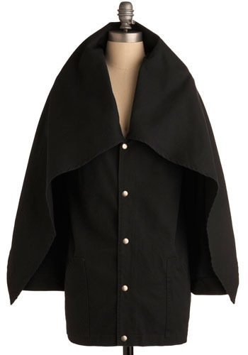 Rain Delay Coat: $184.99 I'm the goddamn Batman. Snap it up the front, pull the oversized collar up over your head like a  hood, draw the toggled strings, and you'll repel precipitation but not  people's positive attention! So don't defer adding this ultra chic piece  of outerwear to your wardrobe, and you'll be able to dawdle all the  live-long day in style.