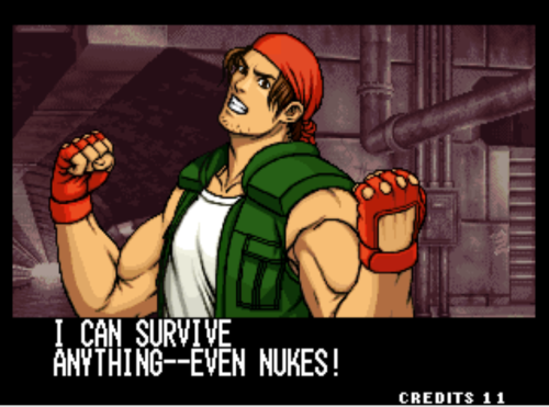 bison2winquote:  - Ralf Jones, The King of Fighters 1999 (SNK)  Can we test this theory, Ralf?