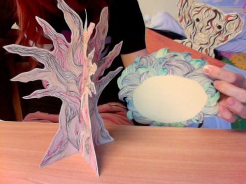 Not the best photo ever, but here's what I've done today!  I made some trees and a bear and some sea!   I am aware that I'm using a lot of the same themes as I did in my last projects, but at the moment it's just working as a good and cosy starting point to test drawing styles before I jump onto other things.  And in the group project we did I really enjoyed the whole 3D thing and want to do more of that.  My dad's bringing me over a soldering iron, and I have some wood, so I'm going to etch and lazer cut out some characters and paint them :D So I spent nearly €30 on pens in the last few days, beautiful colourful fine liners =]  So I've been doing a lot of very detailed line drawings, I'm going to start working on mark making to do some sophisticated detailed drawings =]
