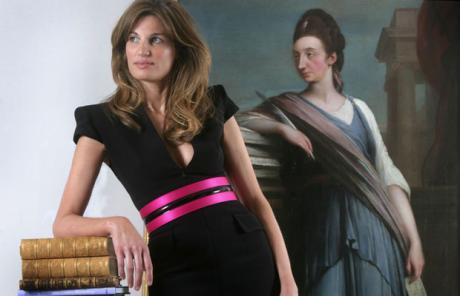 Jemima Khan wears an updated, classic Muslim pose.